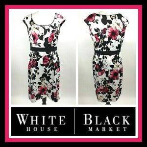 👗 WHBM Pink Floral Cap Sleeve Fit & Flare Dress